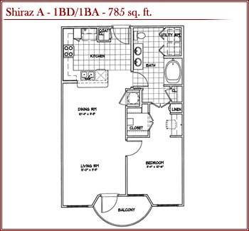 785 sq. ft. SHIRAZ A floor plan