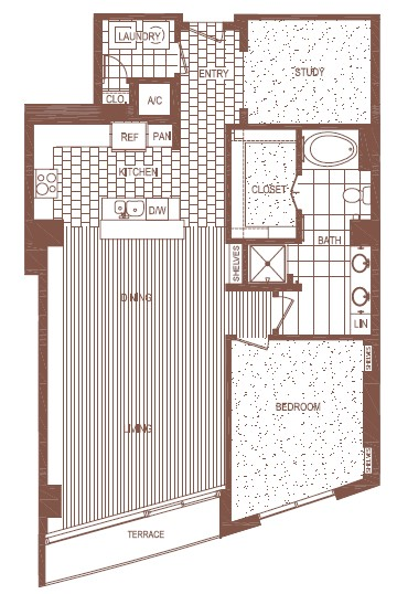 1,233 sq. ft. A6 floor plan