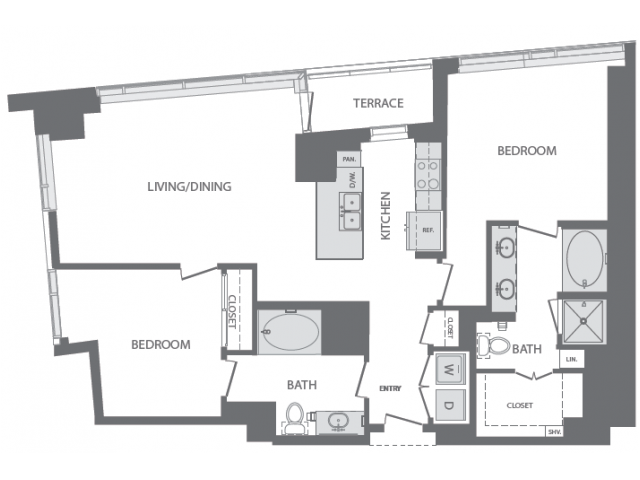 1,297 sq. ft. to 1,811 sq. ft. K floor plan