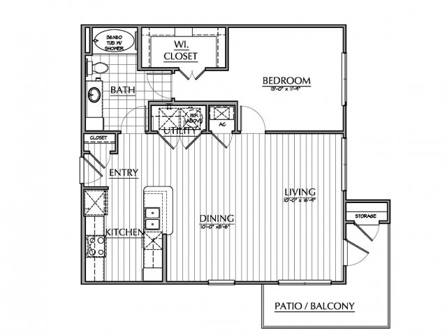 882 sq. ft. A4 floor plan