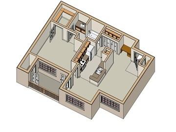 750 sq. ft. 30% floor plan