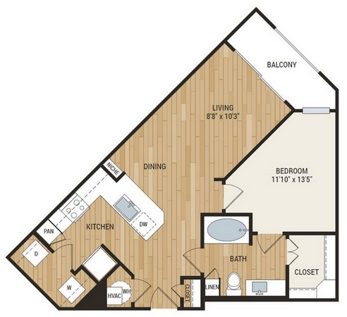 734 sq. ft. Jones floor plan