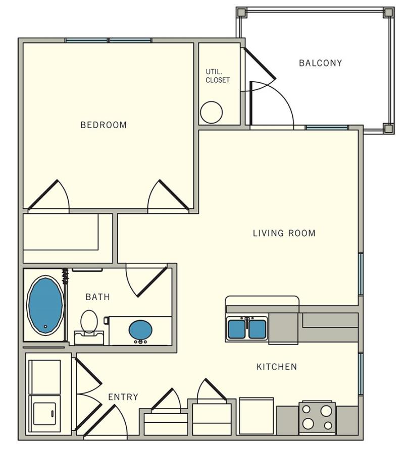589 sq. ft. A2 Corner floor plan