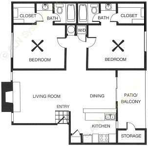971 sq. ft. floor plan