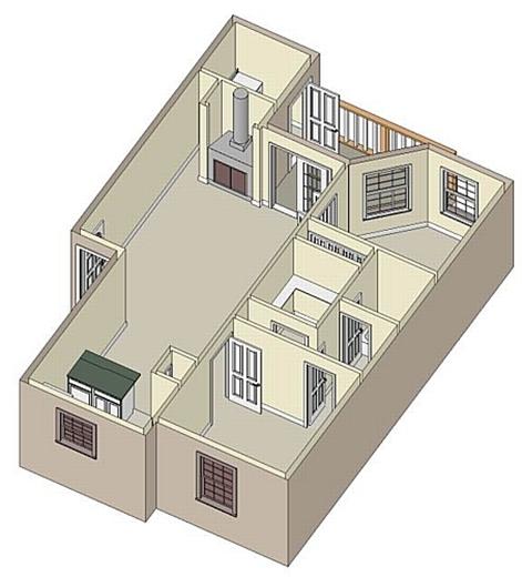 885 sq. ft. B1 Sunroom floor plan
