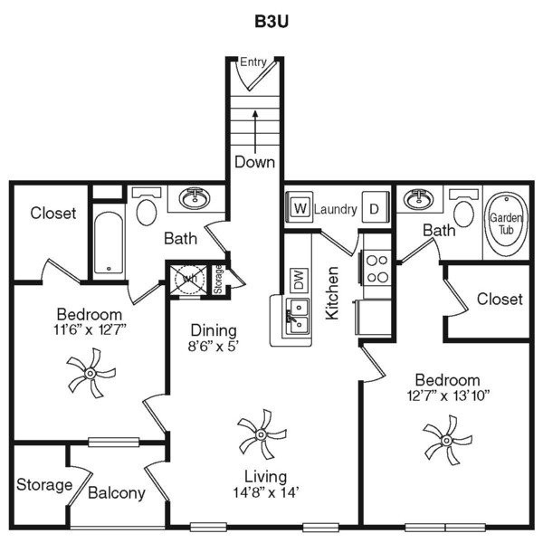 1,107 sq. ft. B2G floor plan