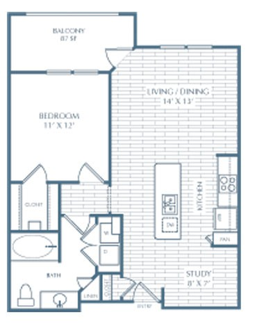733 sq. ft. A3 Ellis Alt floor plan