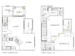 1,169 sq. ft. C/60% floor plan