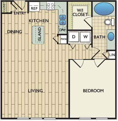 840 sq. ft. DUCHAMP floor plan