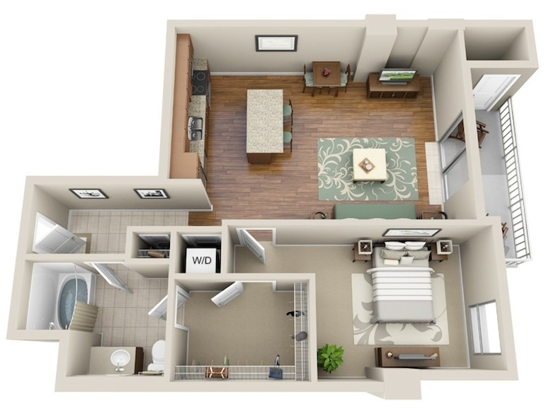 773 sq. ft. A4 floor plan