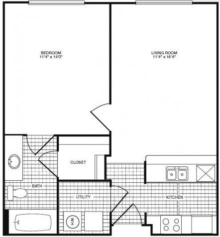 555 sq. ft. floor plan