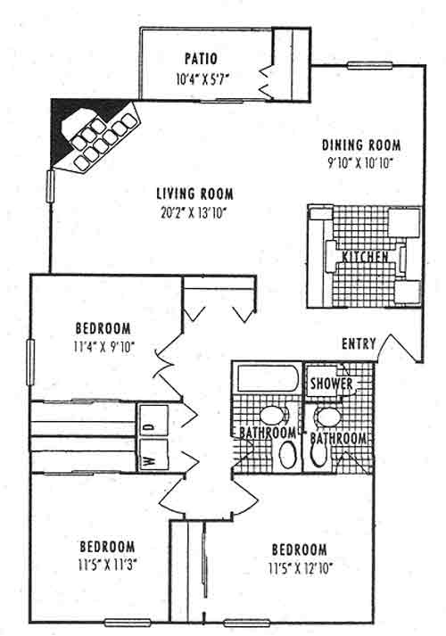 1,211 sq. ft. 3C floor plan