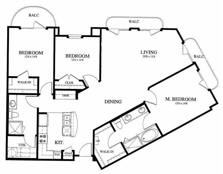 1,428 sq. ft. C1 floor plan