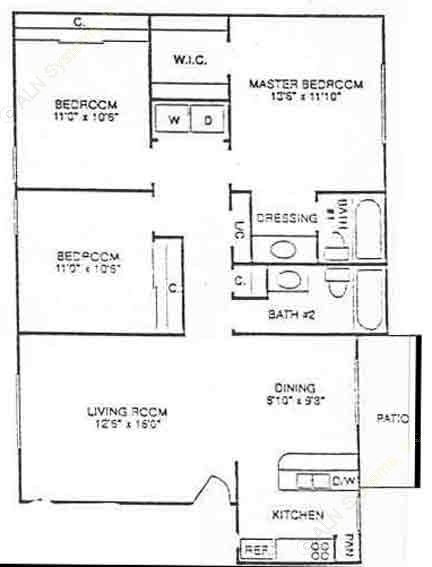 1,061 sq. ft. C1 floor plan