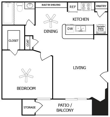 561 sq. ft. D floor plan