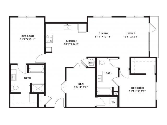 1,391 sq. ft. B11 floor plan
