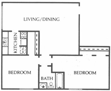 1,090 sq. ft. Oak floor plan