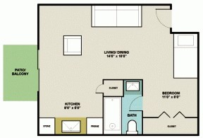 440 sq. ft. OA1 floor plan