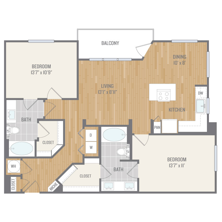 1,153 sq. ft. B6 floor plan