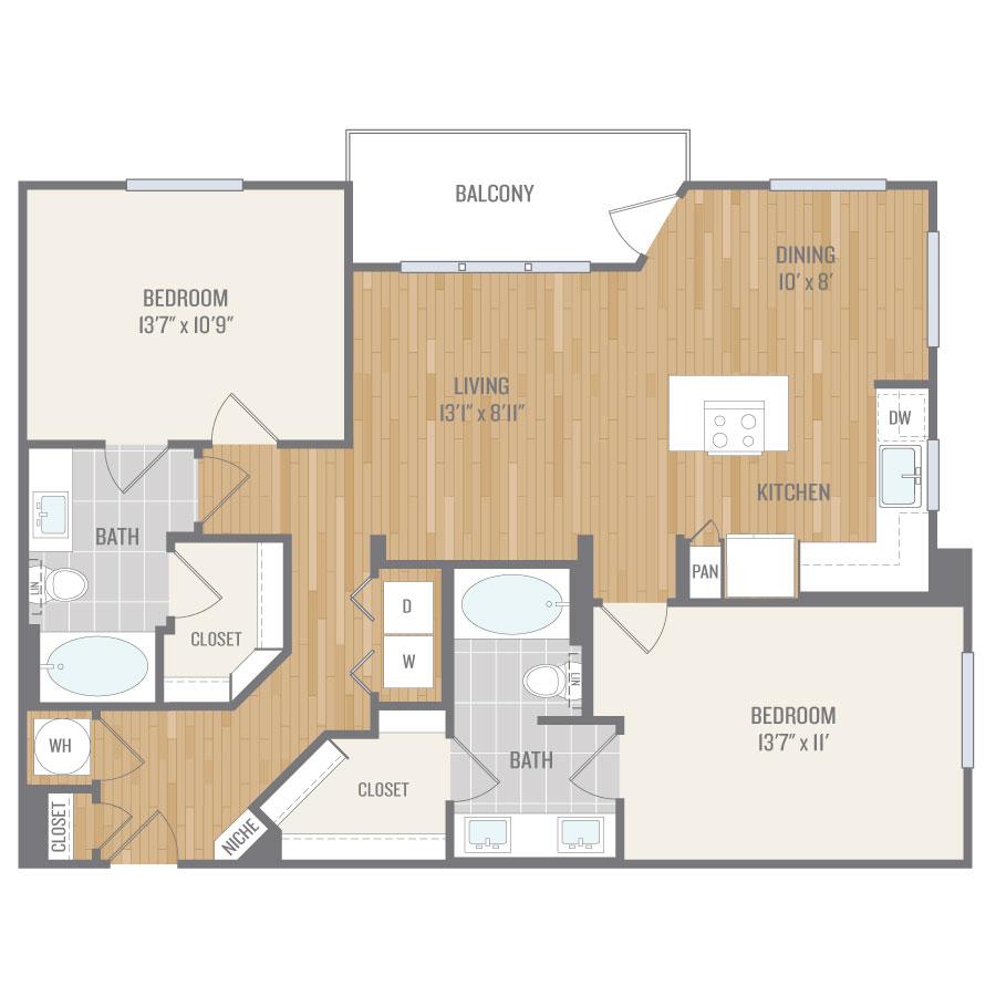 1,153 sq. ft. B6 floor plan