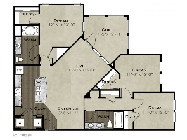 1,382 sq. ft. Vulcan floor plan