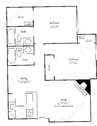 848 sq. ft. F floor plan