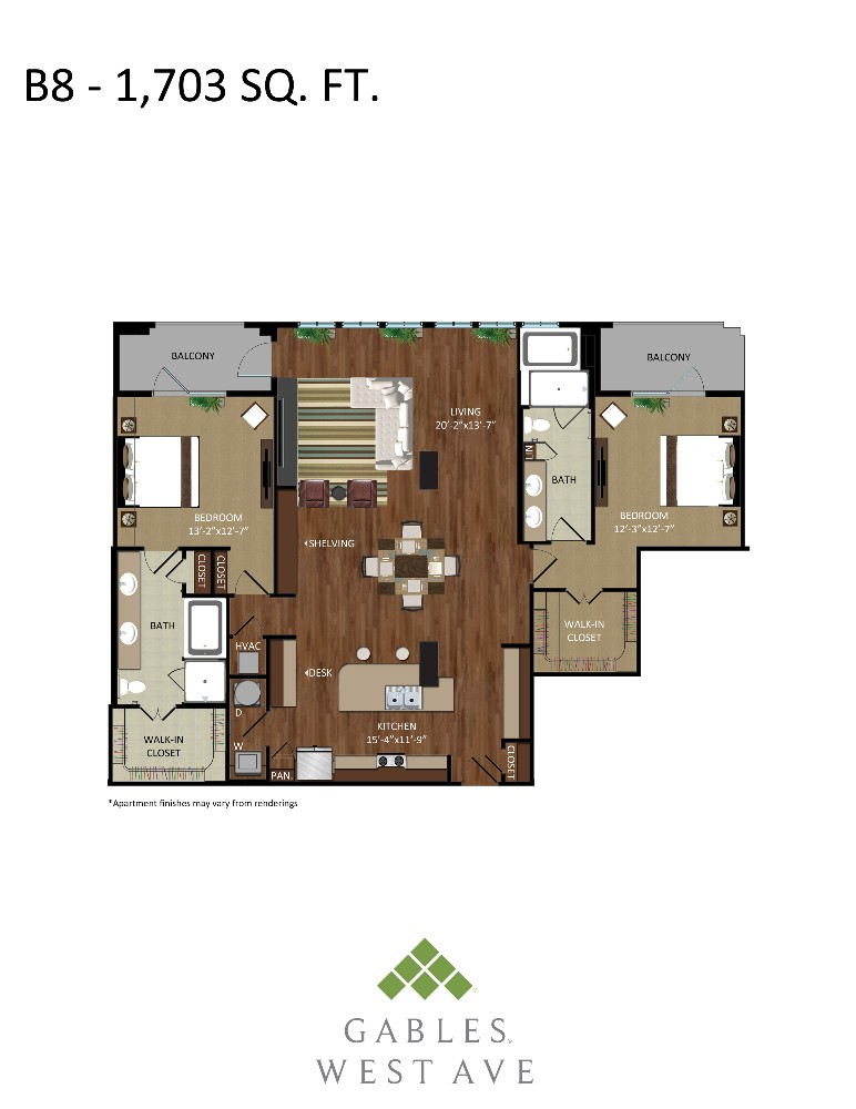 1,703 sq. ft. B8 floor plan