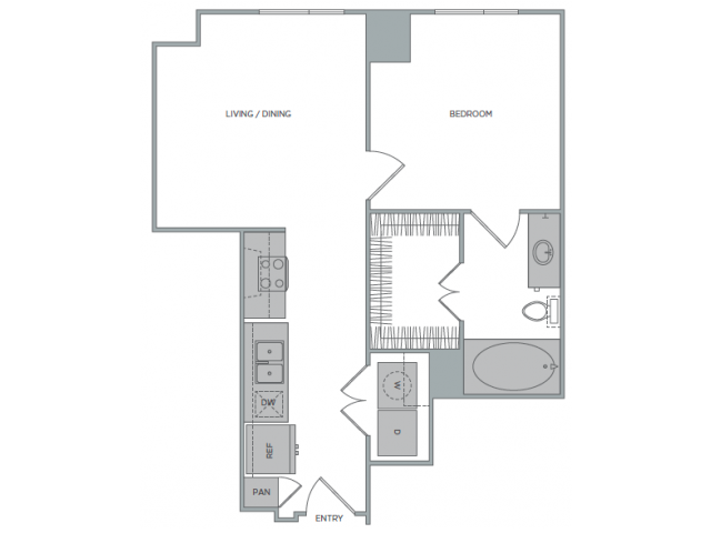 571 sq. ft. 1B floor plan