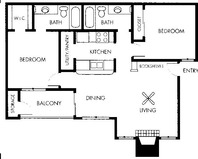 875 sq. ft. Monet floor plan