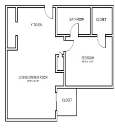 692 sq. ft. A1B floor plan