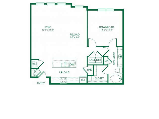 980 sq. ft. A5A Kilobit floor plan