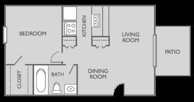 541 sq. ft. A1 floor plan