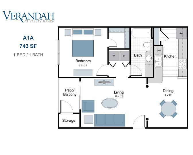 743 sq. ft. A1A floor plan