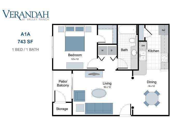743 sq. ft. A1A floor plan