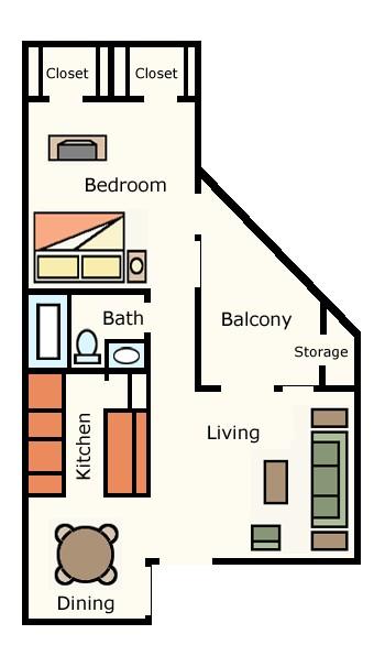 626 sq. ft. 1B10 floor plan