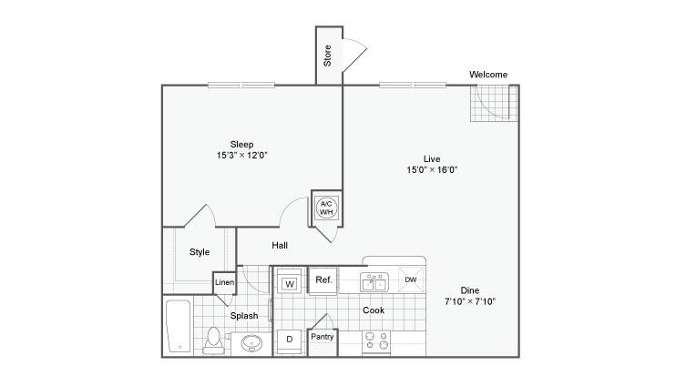 840 sq. ft. Artisan 3 floor plan