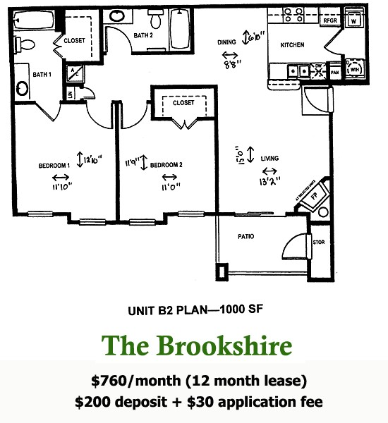 1,000 sq. ft. BROOKSHIRE floor plan