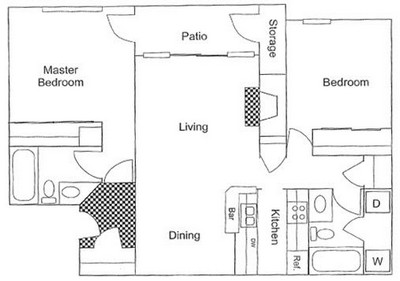 843 sq. ft. B1 floor plan