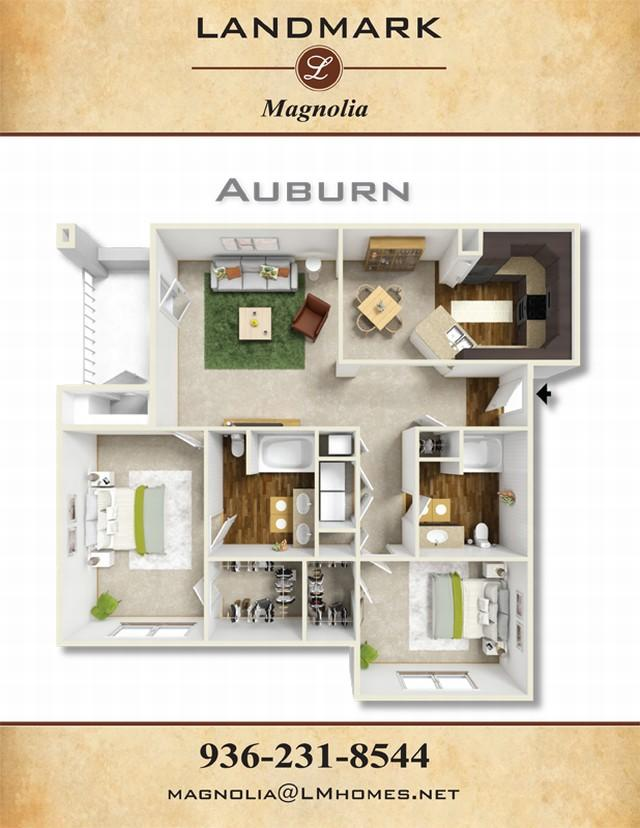 1,172 sq. ft. Auburn floor plan