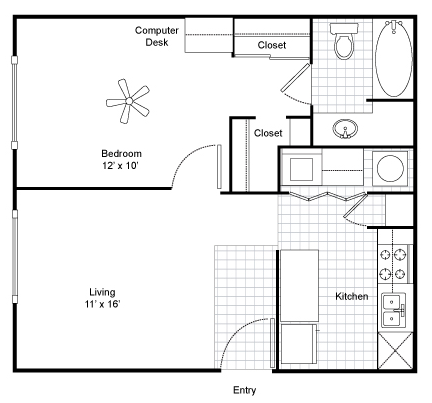 579 sq. ft. A1 floor plan
