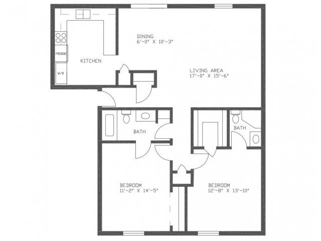 1,187 sq. ft. Redwood floor plan