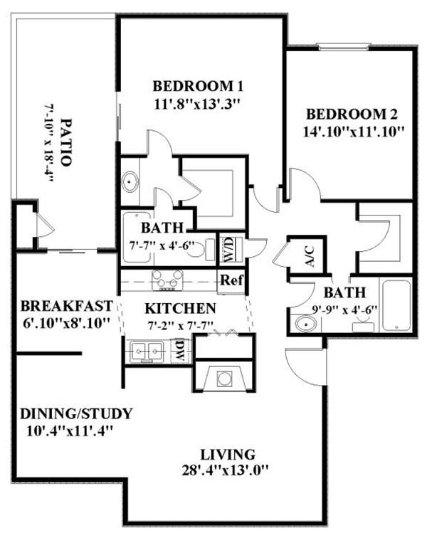 1,325 sq. ft. B5 floor plan