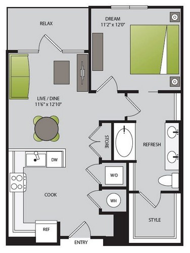 738 sq. ft. A2.1 floor plan