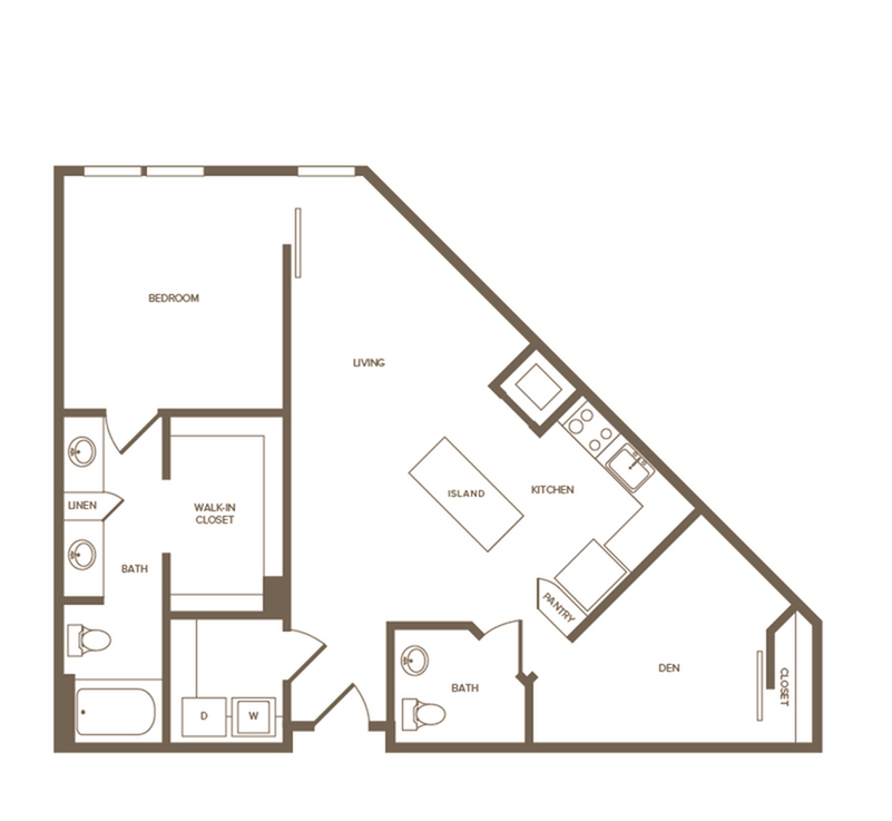 1,003 sq. ft. A13D floor plan