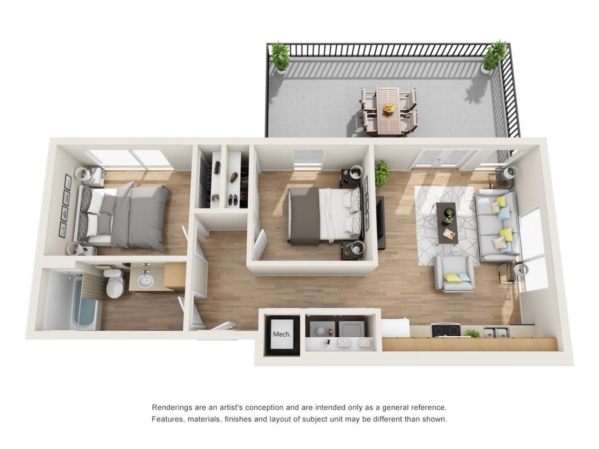 750 sq. ft. B4 floor plan