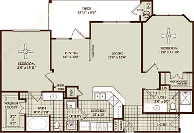 1,068 sq. ft. B1 floor plan