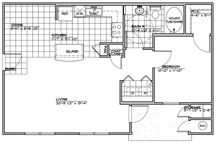 787 sq. ft. 60% floor plan