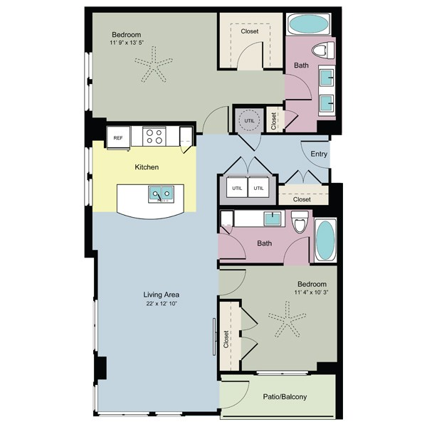 1,143 sq. ft. Savor (B2D) floor plan