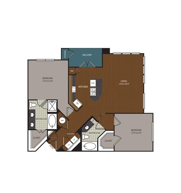 1,171 sq. ft. to 1,215 sq. ft. Riverside floor plan