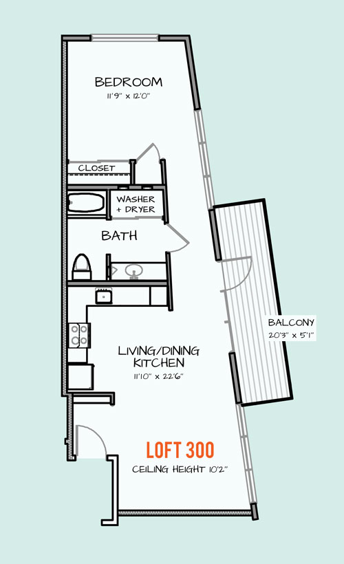 880 sq. ft. 127 floor plan